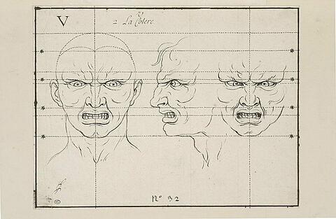 La Colère : deux têtes de face et une de profil