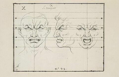 Le Désespoir : deux têtes de face et une de profil