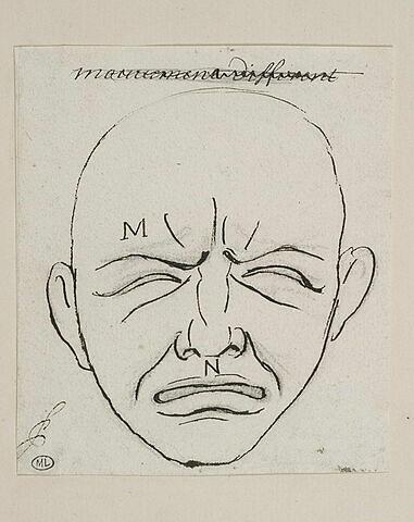 Le Pleurer (dit aussi mouvement différent) : tête vue de face