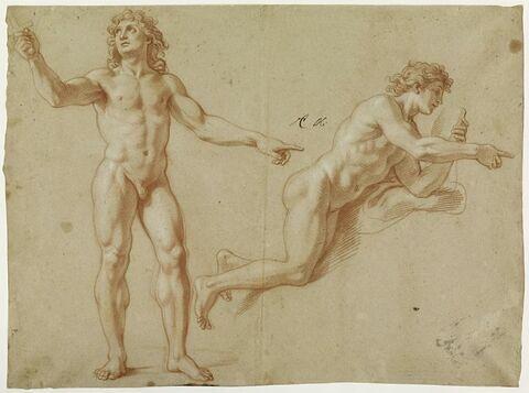 Deux hommes nus : Louis XIV debout et Apollon