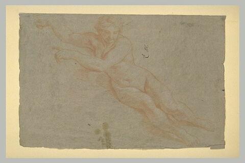 Femme nue, assise dans les airs