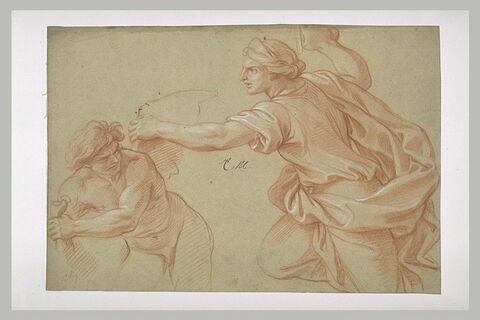 Femme poursuivant une figure ailée
