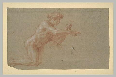 Homme nu, à genoux, de profil