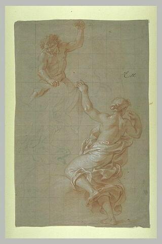 Femme drapée vue de dos, homme nu, monté sur un éléphant