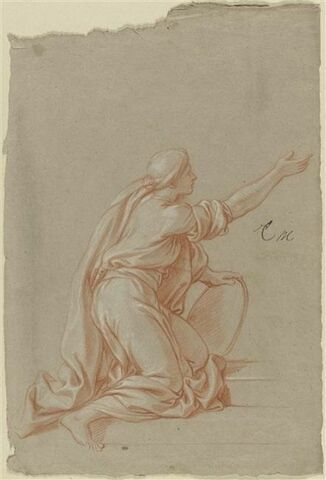 Femme drapée, à genoux