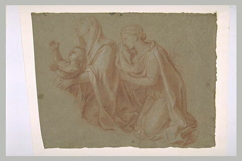Deux femmes drapées, à genoux, avec un enfant