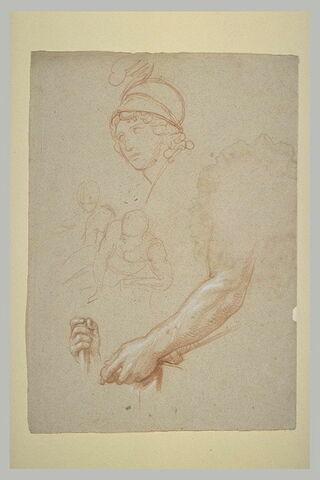 Etudes d'une tête de guerrier, de deux figures, d'un bras et d'une main
