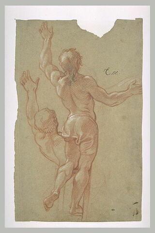 Homme demi-nu, debout sur une échelle