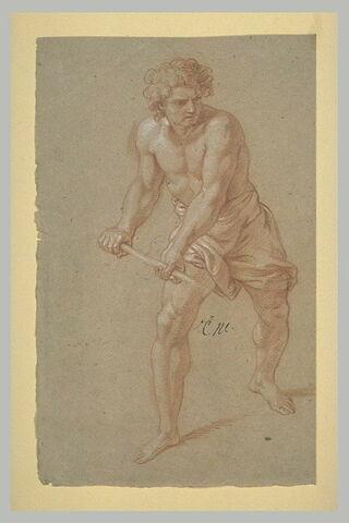 Homme demi nu, tenant un bâton à deux mains