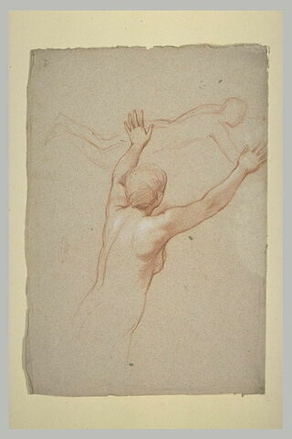 Femme nue, à mi-jambes, les deux bras levés. Figure nue, debout