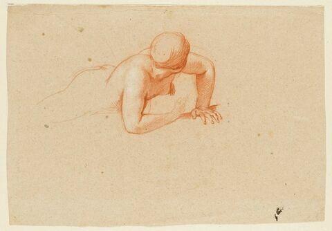 Femme nue, allongée à terre, s'appuyant sur sa main gauche