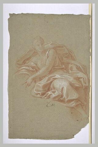 Femme drapée, assise, tenant une corne d'abondance