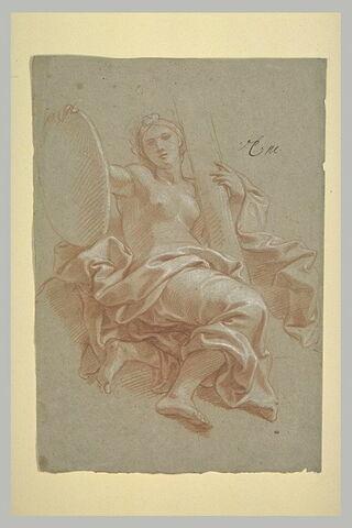 Femme drapée, assise dans les airs