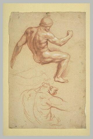 Deux études de cavalier nu, casqué, vu de profil