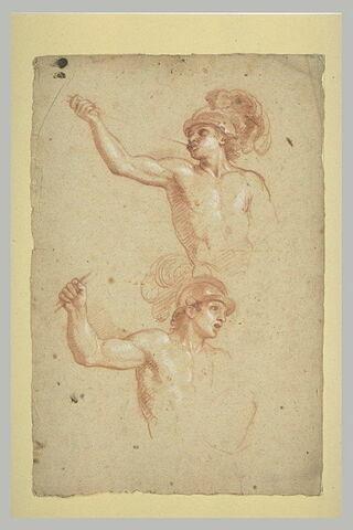Deux guerriers nus, casqués, à mi-corps