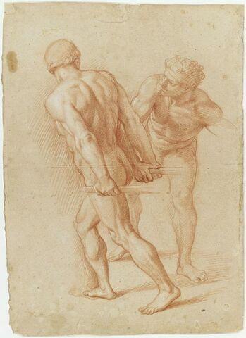 Deux hommes nus, debout