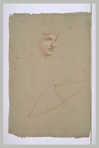 Tête d'homme, vue presque de profil ; étude d'un arc