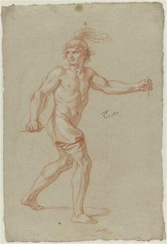 Homme demi-nu, casqué, marchant vers la droite