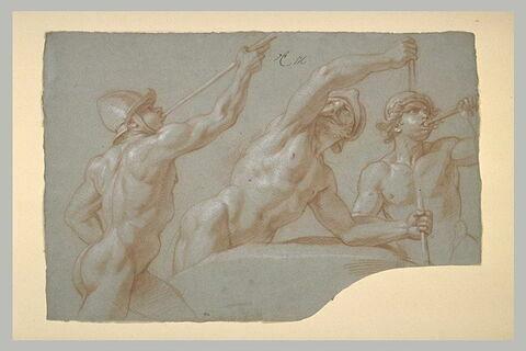 Trois hommes nus, casqués, à mi-jambes