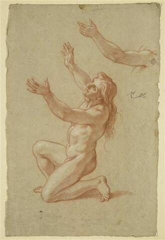 Figure nue, un genoux à terre