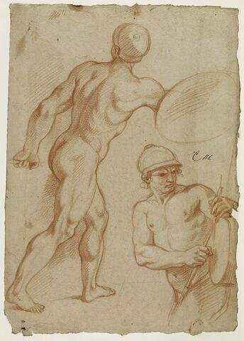 Deux soldats nus, casqués