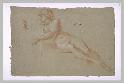 Femme nue, casquée, assise