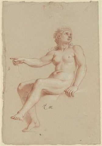 Femme nue, assise, tournée à gauche, regardant à droite