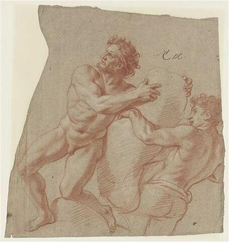 Deux hommes portant un fardeau : Vulcain et un cyclope