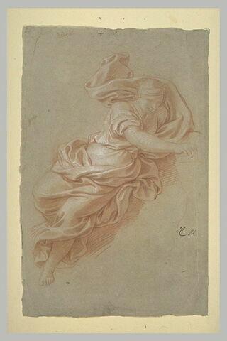 Femme drapée, demi-assise, tournée vers la droite