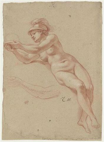 Femme nue, casquée, à demi-assise : Minerve ; reprise du bras