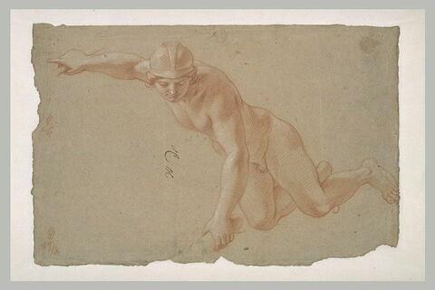 Figure nue, casquée, volant dans les airs