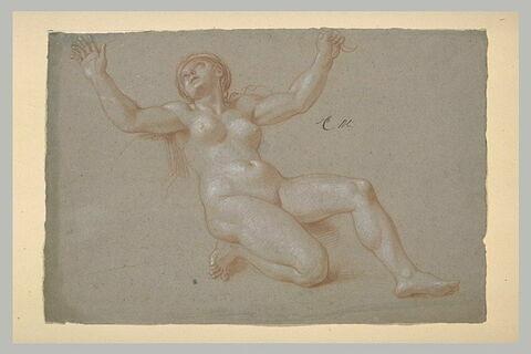 Femme nue, un genou à terre, les bras ouverts
