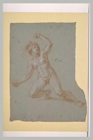 Femme nue, casquée, un genou à terre