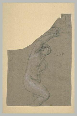 Femme nue à mi-jambes, le bras droit levé
