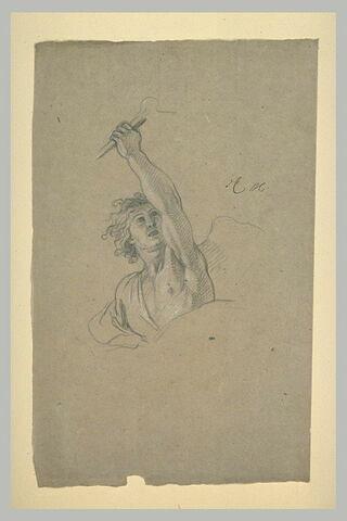 Figure ailée, en buste, levant un bras