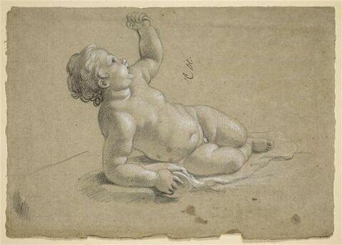 Enfant nu, à demi-couché