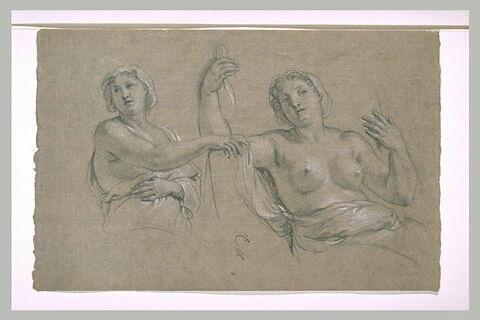 Deux femmes demi-nues, à mi-corps, coiffées d'un bonnet