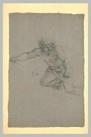 Homme demi-nu, volant dans les airs
