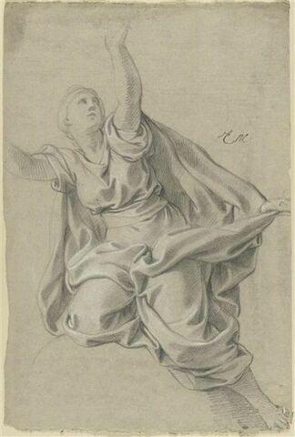 Femme drapée, levant les bras