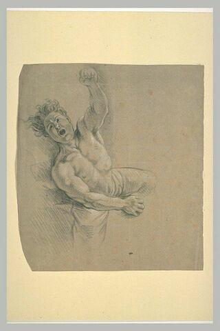 Homme demi-nu, tombant en criant