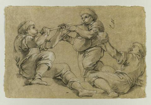 Trois hommes jouant de la musique, ou buvant