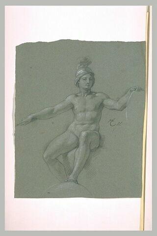 Femme assise, nue et casquée