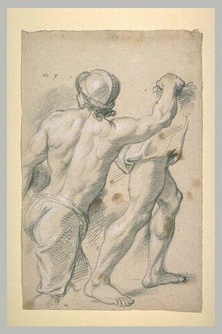 Guerrier casqué, demi-nu, de dos ; jambes d'une autre figure