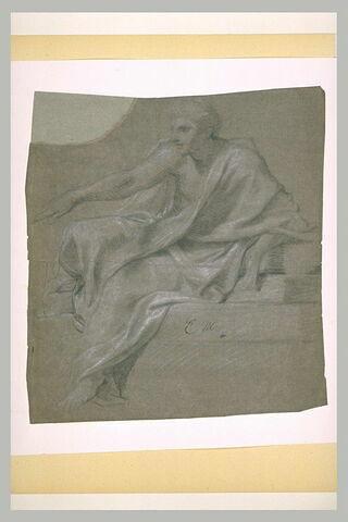 Homme drapé assis, tourné vers la gauche