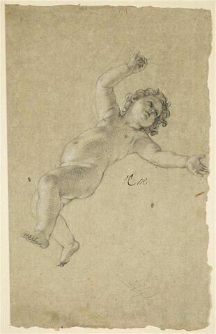 Enfant nu, volant dans les airs