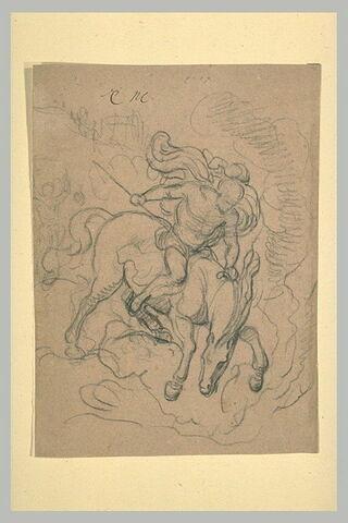 Cavalier, armé d'une lance, galopant vers la droite