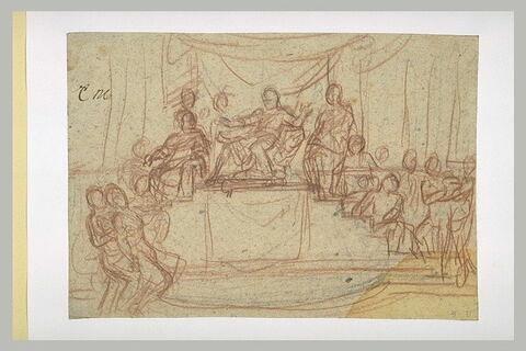 Homme assis sous un dais surélevé, entouré de nombreuses figures