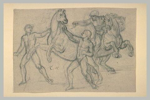 Groupe d'hommes et de chevaux