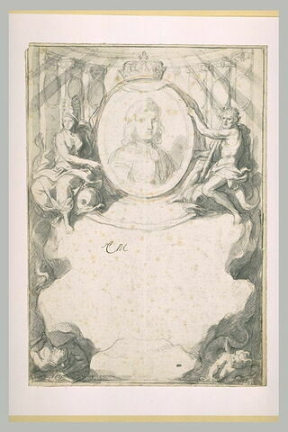 Portrait du dauphin, soutenu par Minerve et Hercule