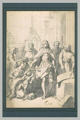 Saint-Louis distribuant des aumônes